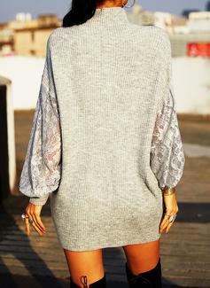 Rollkragen Lässige Kleidung Spitze Einfarbig Pullover