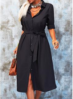 Solid Kjole med A-linje Lange ærmer Midi Den lille sorte Casual Skjorte Mode kjoler