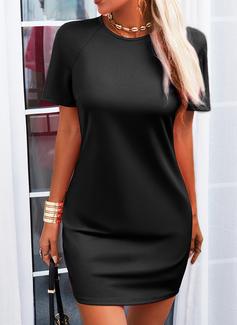Sólido Bodycon Manga Curta Mini Vestido Preto Casual Vestidos na Moda