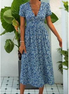Fleurie Imprimé Robe trapèze Manches Courtes Midi Décontractée Patineur Robes tendance