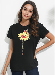 Print Sunflower Print Korte ærmer Polyester rund hals T-shirt Bluser