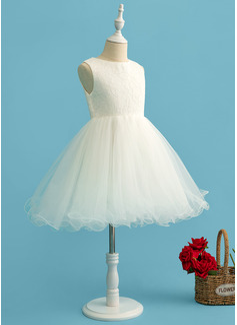 A-Line Knee-length Flower Girl Dress - Tulle Sleeveless Scoop Neck With Beading/Bow(s)