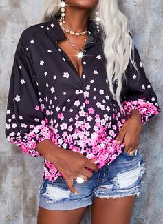 Blomster Print V-hals 3/4 ærmer Button-up Casual Shirt Skjorter