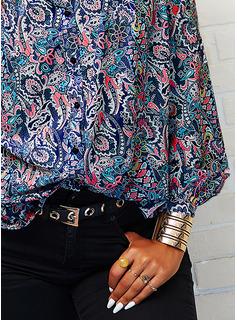 Print V-hals Lange ærmer Button-up Casual Skjorter