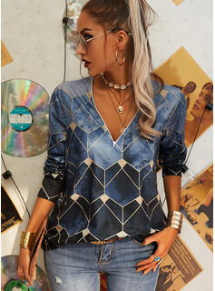 Geometric Print Print V-Neck Long Sleeves Casual Blouses