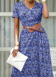 Print V-Neck Short Sleeves Maxi Dresses