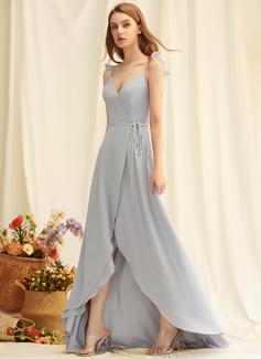 A-Linien-Kleid V-Ausschnitt Chiffon Chiffon Modekleider mit Schlitz Vorn