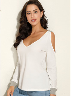 Solid Lange ærmer Polyester Kolde skulder T-shirt Bluser