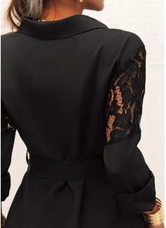 Spets Solid Fodral Långa ärmar Mini Den lilla svarta Fritids Skjortklänningar Modeklänningar