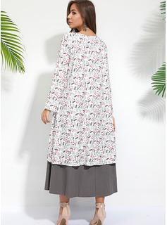 Midi Escote en V poliéster Botones/Impresión Mangas Largas Vestidos de moda