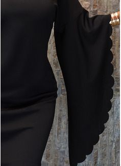 Lentejuelas Sólido Vestidos sueltos Mangas de Murciélago Manga Larga Mini Pequeños Negros Fiesta Vestidos de moda