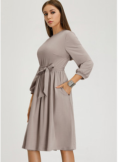 Solid A-line kjole Lange ermer Midi vintage stil Avslappet Elegant Motekjoler