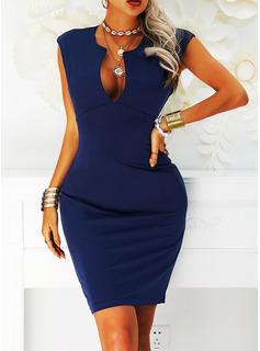 Solid Bodycon Sleeveless Midi Little Black Party Elegant Dresses