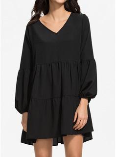 固体 シフトドレス 長袖 ミニ リトルブラックドレス ビンテージ チュニック ファッションドレス