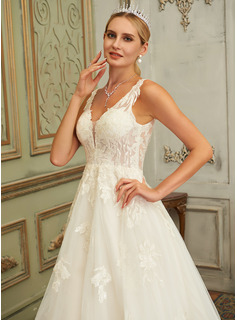 Ball-Gown/Princess V-neck Court Train Tulle Lace Wedding Dress With Lace