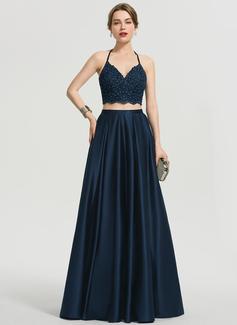 A-Line V-neck Floor-Length Satin Prom Dresses With Beading Pockets