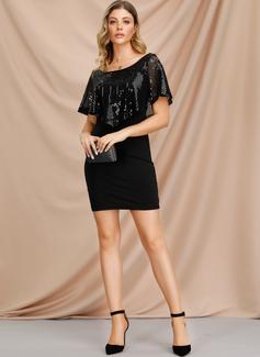 Sobre la rodilla Escote en V poliéster Lentejuelas Lentejuelas/Sólido Vestidos de moda