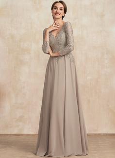 Трапеция V-образный Длина до пола шифон Кружева Платье Для Матери Невесты
