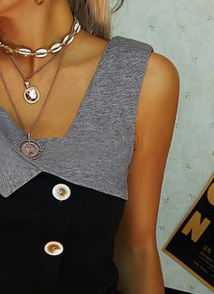 Trozos de color Cuello en V Sin mangas Con Botones Casual Camisetas sin mangas