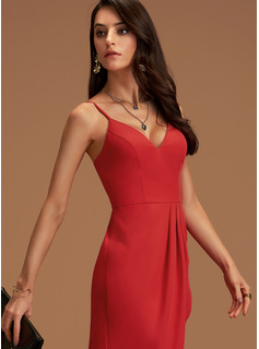 V-Neck Red Charmeuse Dresses