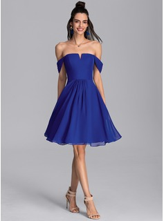 A-Line Off-the-Shoulder Knee-Length Chiffon Cocktail Dress