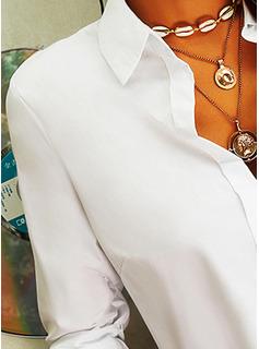 Solid lapel Långa ärmar Fritids Skjorta Blusar