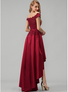 A-Line Off-the-Shoulder Asymmetrical Satin Evening Dress With Lace Beading Sequins Bow(s)
