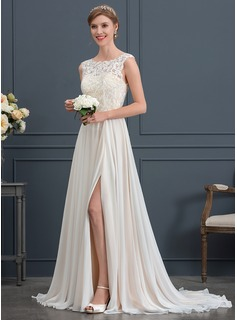 A-Line/Princess Scoop Neck Sweep Train Chiffon Wedding Dress With Split Front