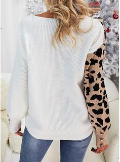 Scollatura a V Casuale leopardo Pizzo Blocchi di colore Maglioni