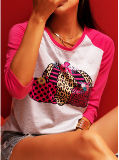 Leopardo Impresión Cuello Redondo Manga Larga camiseta
