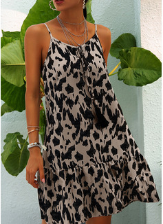 leopardo Abiti dritti Senza maniche Mini Casuale Sexy Vacanza Tipo Vestiti di moda