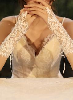 Tul/Encaje Codo Largo Guantes de novia con La perla de faux