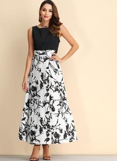 Print Kjole med A-linje Ærmeløs Midi Vintage Casual Elegant skater Mode kjoler