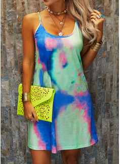 Print Shift Sleeveless Mini Casual Vacation Type Dresses