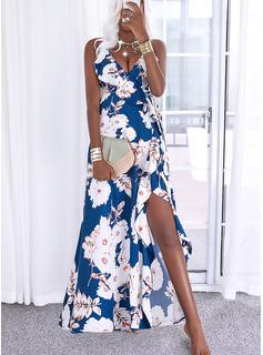 Floral Impresión Vestido línea A Sin mangas Maxi Casual Vacaciones Patinador Tipo Vestidos de moda