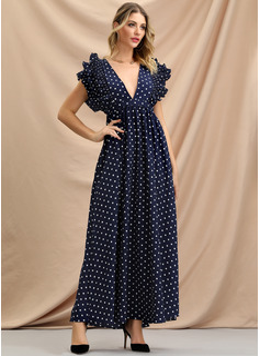 PolkaDot A-linjeklänning Flare Ärm Maxi Party tappning utformar Elegant Modeklänningar