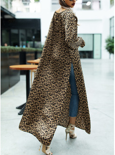 Leopard Shift Long Sleeves Maxi Casual Dresses