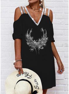 Print Heart Shift 1/2 Sleeves Midi Casual Tunic Dresses