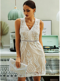 Above Knee V neck Polyester/Lace Lace/Solid Sleeveless Fashion Dresses