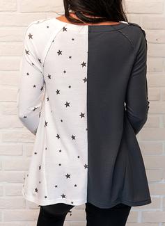 Color Block Blonder Print V-hals Lange ærmer Casual Skjorter