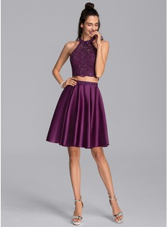 A-Line Scoop Neck Short/Mini Satin Homecoming Dress With Beading Sequins