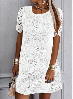 Solid Shift Short Sleeves Mini Elegant Dresses
