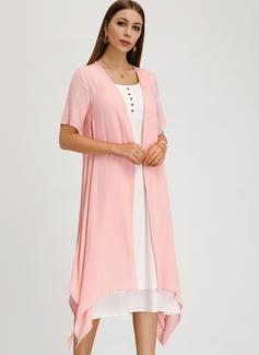 Medium rund hals Linned Korte ærmer Solid Mode kjoler