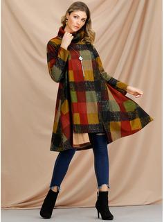 Tela escocesa Vestidos sueltos Manga Larga Midi Casual Túnica Vestidos de moda