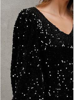 スパンコール シースドレス 長袖 ミニ パーティー ファッションドレス