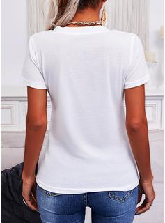 固体 Vネック 半袖 カジュアル Tシャツ
