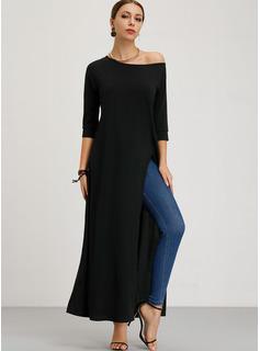 固体 シフトドレス 3/4袖 マキシ カジュアル セータードレス ファッションドレス