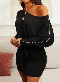 Einfarbig Figurbetont Lange Ärmel Mini Kleine Schwarze Lässige Kleidung Modekleider