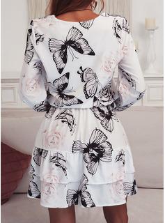 アニマル柄 フローラル シースドレス 3/4袖 ミニ カジュアル ファッションドレス