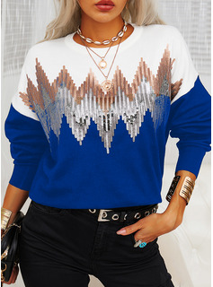 Round Neck Casual Sequins Color Block Sweaters